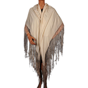 Vintage Fringed Silk Shawl Cream White