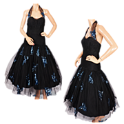 Vintage 50s Halter Neck Dress Black Tulle & Blue Sequins on Net Ball Gown Size M