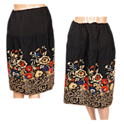 Vintage 1920s Silk Skirt with Art Deco Floral Embroidery Size S / M / L