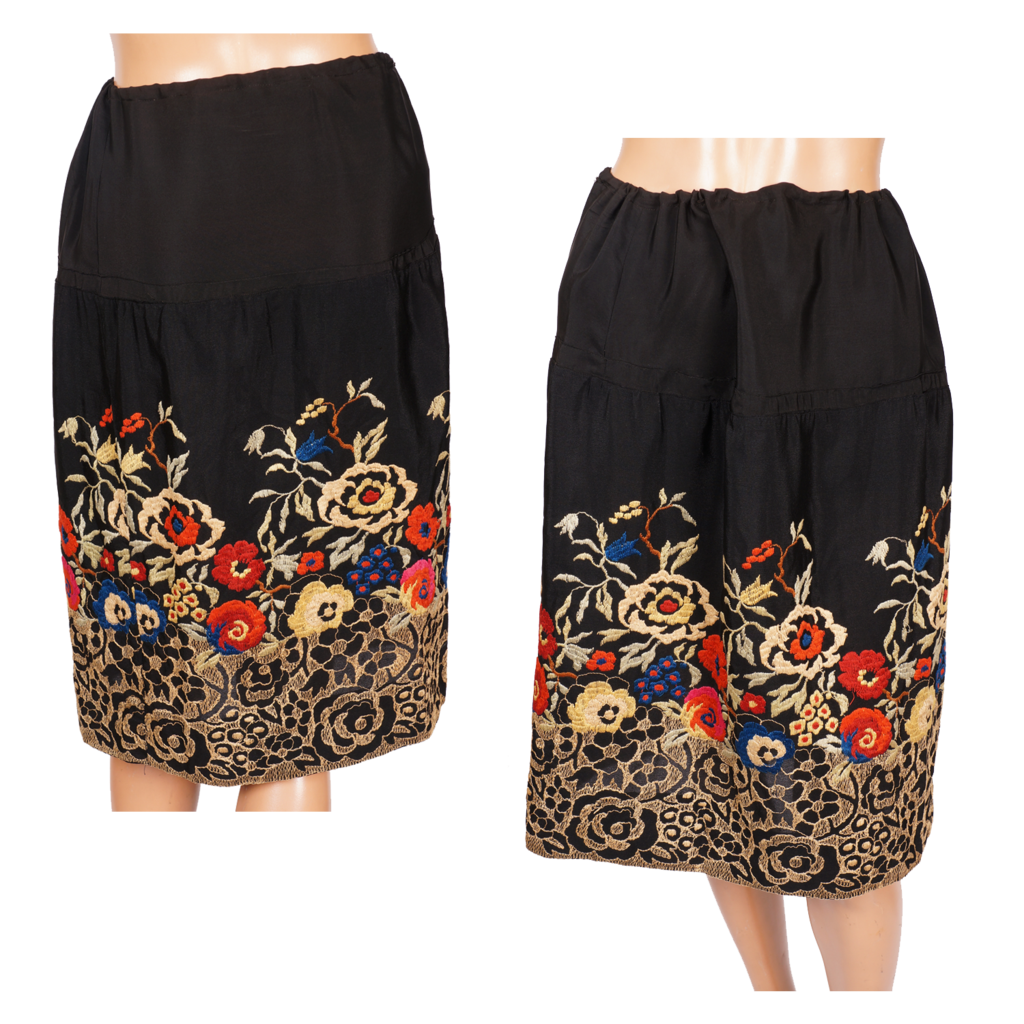 vintage 1920s silk skirt with deco floral embroidery