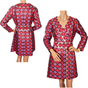 Vintage 60s Lamé Brocade Dress Couturier Made Size M