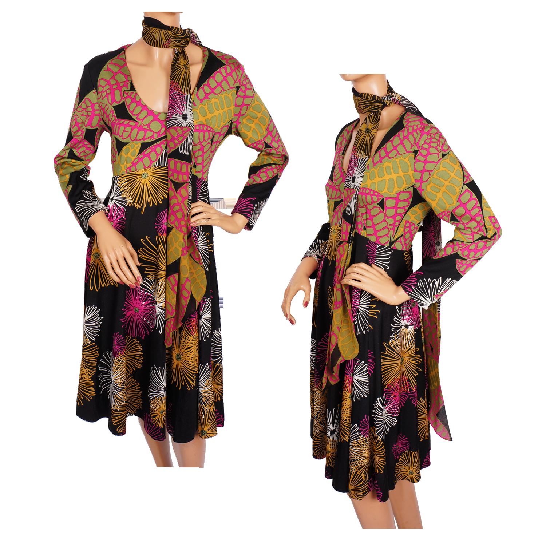 vintage la mendola dress i970s printed jersey italian