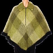 Vintage 1960s Scottish Mohair Wool Poncho Hudsons Bay