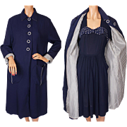 Vintage 1940s Coat and Dress Ensemble Polka Dots & Stripes Navy Blue - M