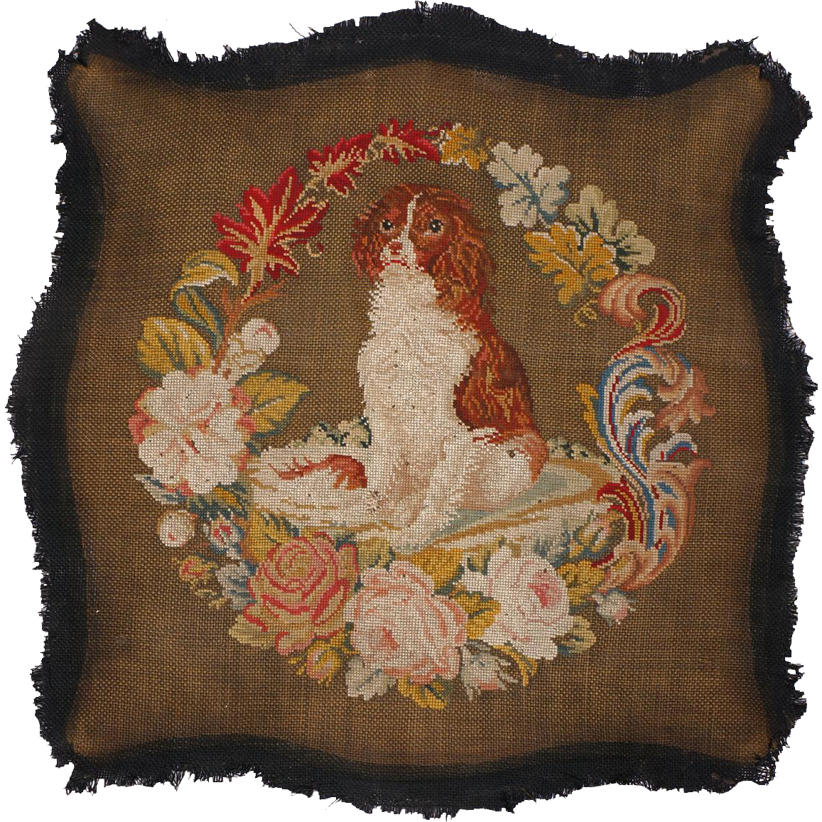 Antique Dog Needlepoint Chair Seat Cover Cavalier King Charles Spaniel Large - Antique Dog Needlepoint Chair Seat Cover Cavalier King Charles