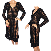 Vintage 60s Hand Crochet Knit Black Dress Size M