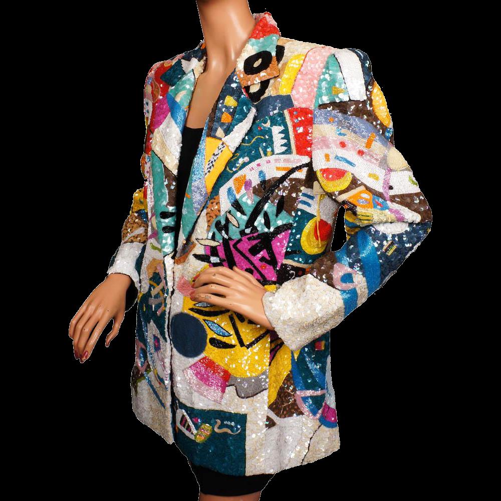 Vintage 80s Beaded & Sequined Jacket - Pop Art