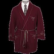 Vintage 1960s Smoking Jacket Maroon Wool -  M / L