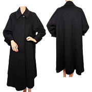 Vintage 80s Black Cashmere Coat Ladies Size 8