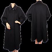 Vintage 80s Black Cashmere Coat Ladies Size 8