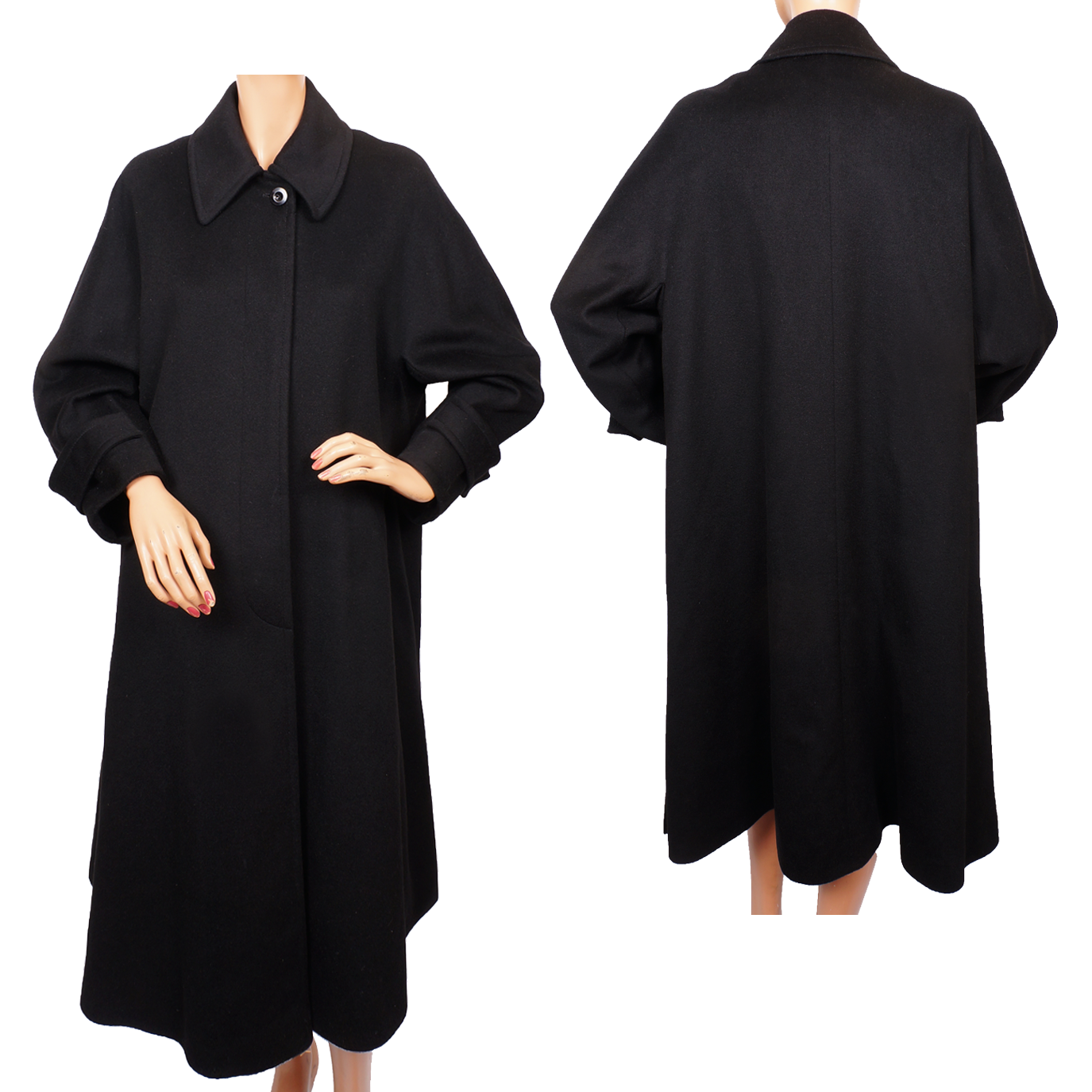 Vintage 80s Black Cashmere Coat Ladies Size 8 from ...