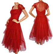 Vintage 50s Red Tulle Formal Party Dress by Rappi for Saks Fifth Avenue