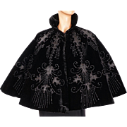 Antique Victorian Cape Jet Beaded Black Velvet Mantelet or Capelet