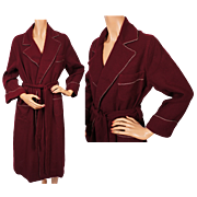 Vintage 1950s Maroon Wool Ladies Dressing Gown Lounging Robe Medium