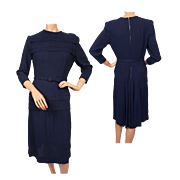 Vintage 1940s Blue Rayon Crepe Swing Dress Size M