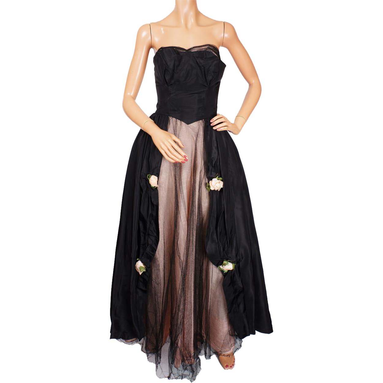 Vintage 1950s Black Tulle Gown By Harry Keiser