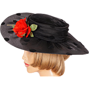 Vintage 80s Wide Brim Black Polka Dot Hat with Red Rose Ladies Size S M