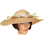 Vintage 1940s Wide Brim Straw Hat Ladies Size S M