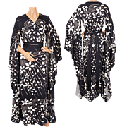 Vintage 70s Hanae Mori Kimono Dress Black & White - Size 12 Large