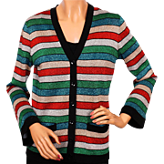 Vintage 70s Lansea Striped Lurex Christmas Cardigan Sweater - Medium