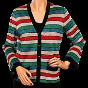 Vintage 70s Lansea Striped Lurex Christmas Cardigan Sweater - Medium