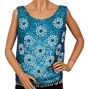 Vintage 1960s Blue Sequin Shell Top Ladies Size M