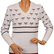 Vintage 1970s Courreges White Pullover Sweater w Hearts - S