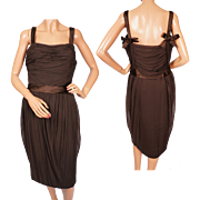 Vintage 1950s Christian Dior Cocktail Party Dress Brown Silk Chiffon - M