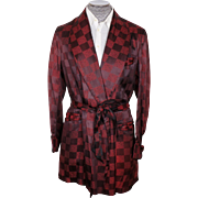 Vintage 1950s Smoking Jacket Checkerboard Pattern Maroon Mens Size Large