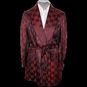 Vintage 1950s Smoking Jacket Checkerboard Pattern Maroon Mens Size Large