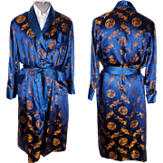 Vintage 1960s Mens Dressing Gown Chinese Dragons Longevity Brand Men Size L