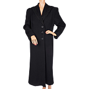 Vintage 1930s Black Wool Coat with Soutache Trim - L