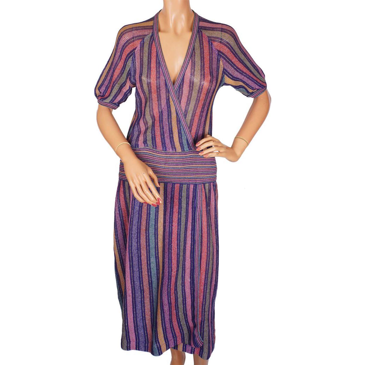 Vintage 1970s Missoni For Bloomingdales Knit Linen Dress
