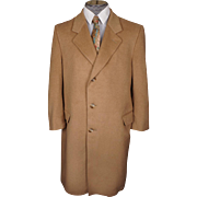 Vintage Pure Cashmere Overcoat Camel Color Coat Mens Size L 42 Short