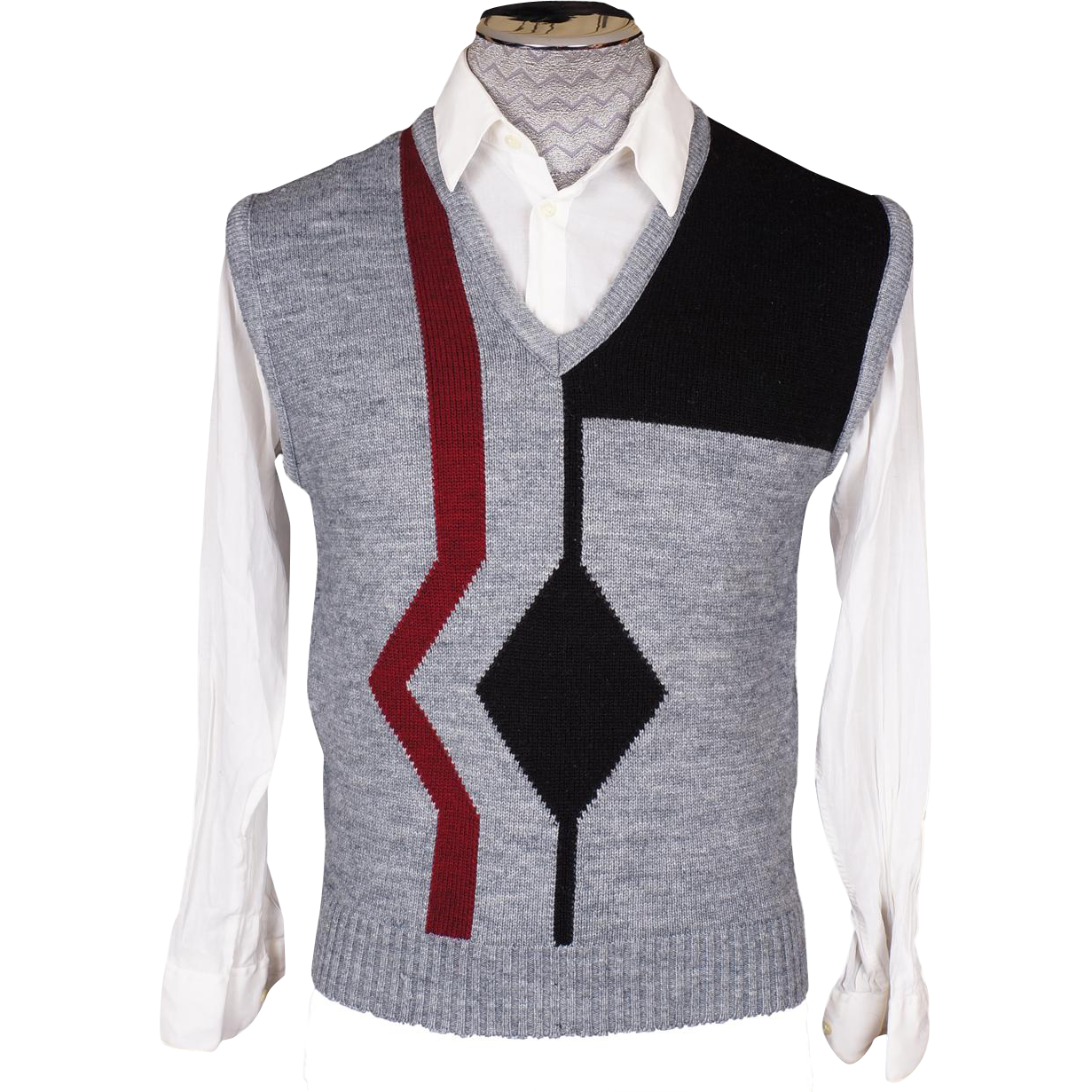 Vintage 70s Mens Knit Sweater Vest Geometric Pattern Prince ...