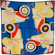 Vintage 60s Does 20s Novelty Print Silk Scarf - Michelin Tires