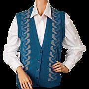 Vintage 1980s Vest Jaeger Blue Wool  - Ladies - 34