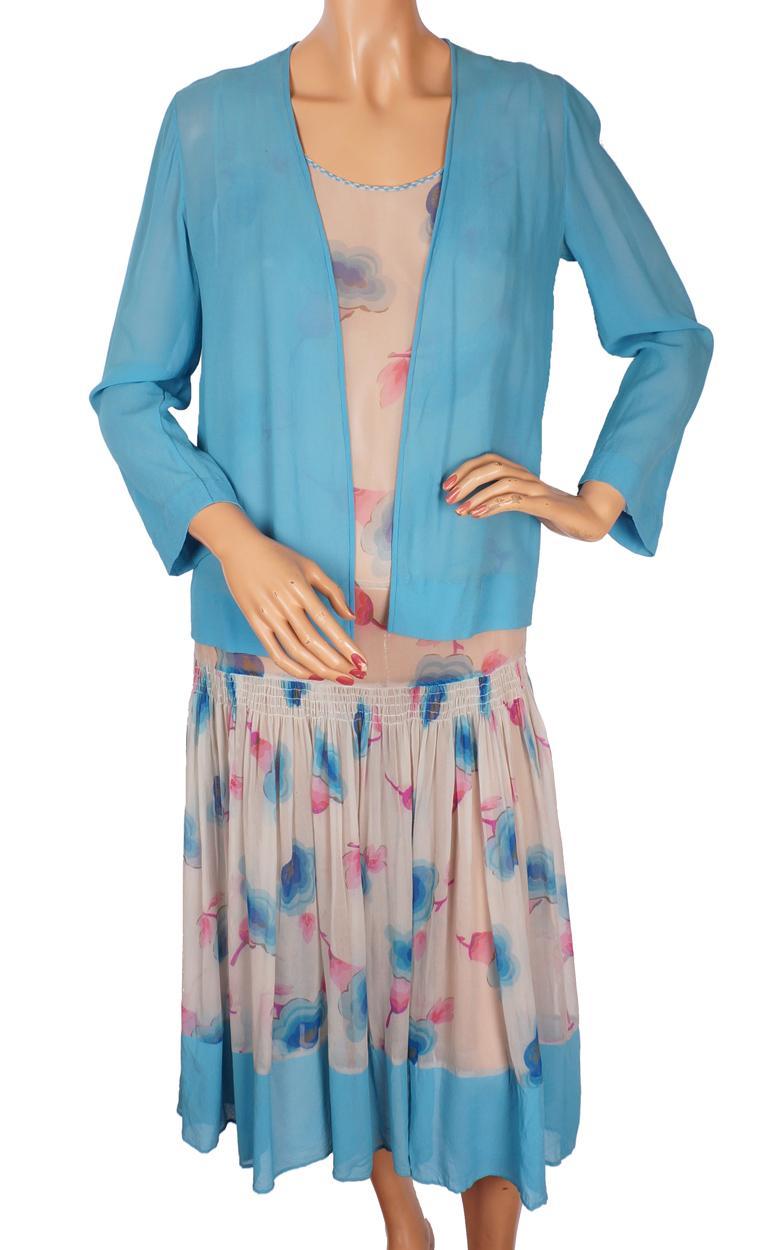 Vintage 1920s Art Deco Floral Print Silk Chiffon Dress ...