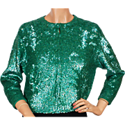 RESERVED - Vintage Green Sequin Sweater - by Gene Shelly - St Patricks Day - Ladies Size M