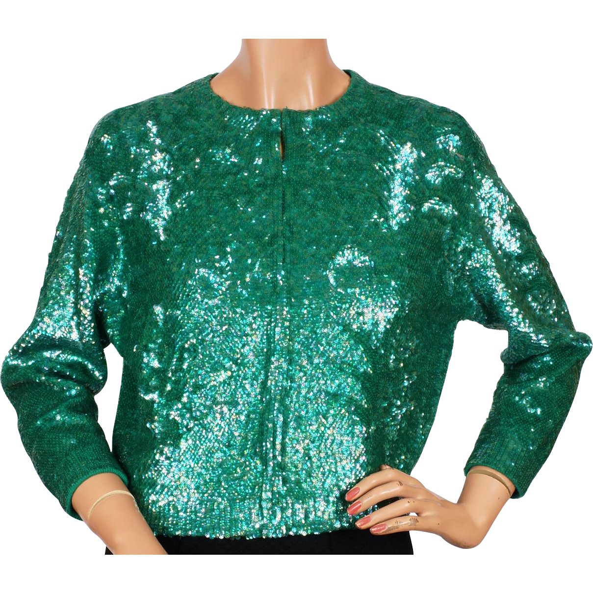 RESERVED - Vintage Green Sequin Sweater - by Gene Shelly - St ...