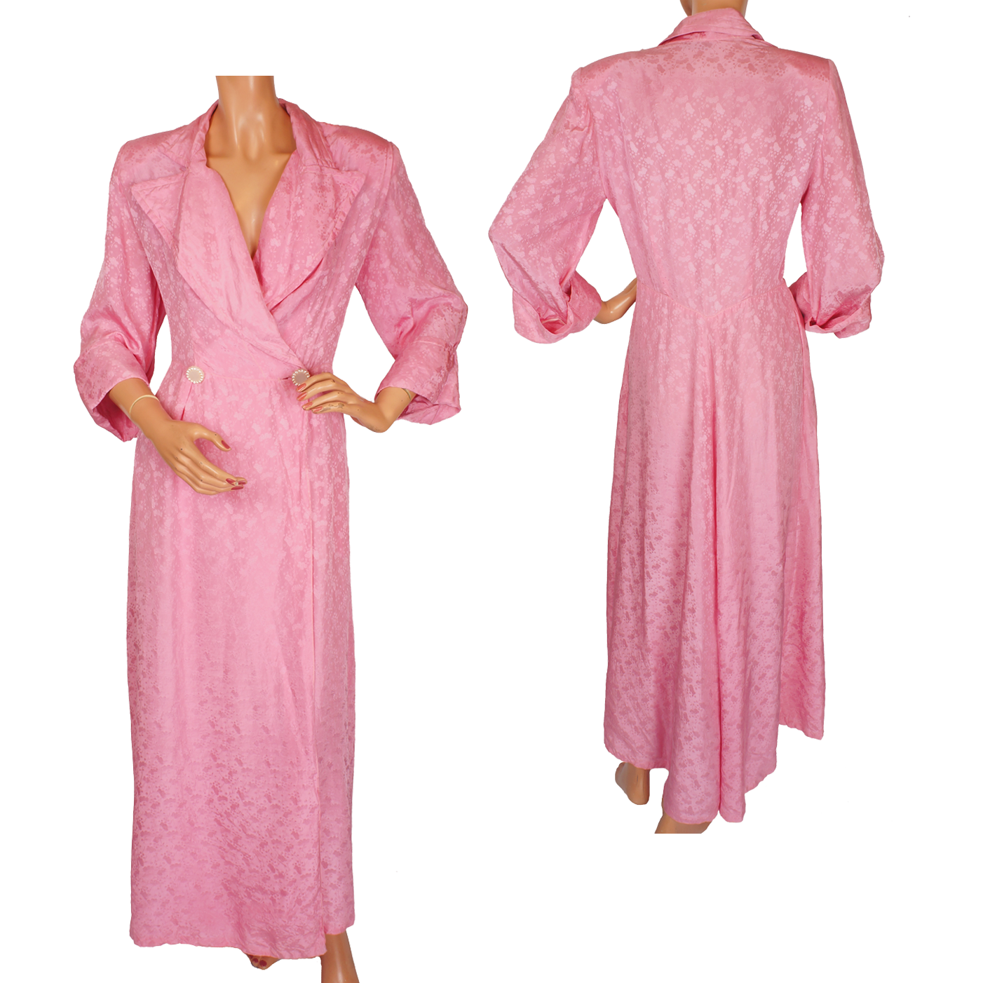 Satin Dressing Gown: Vintage Pink Silk Dressing Gown 1950s Robe Or Hostess