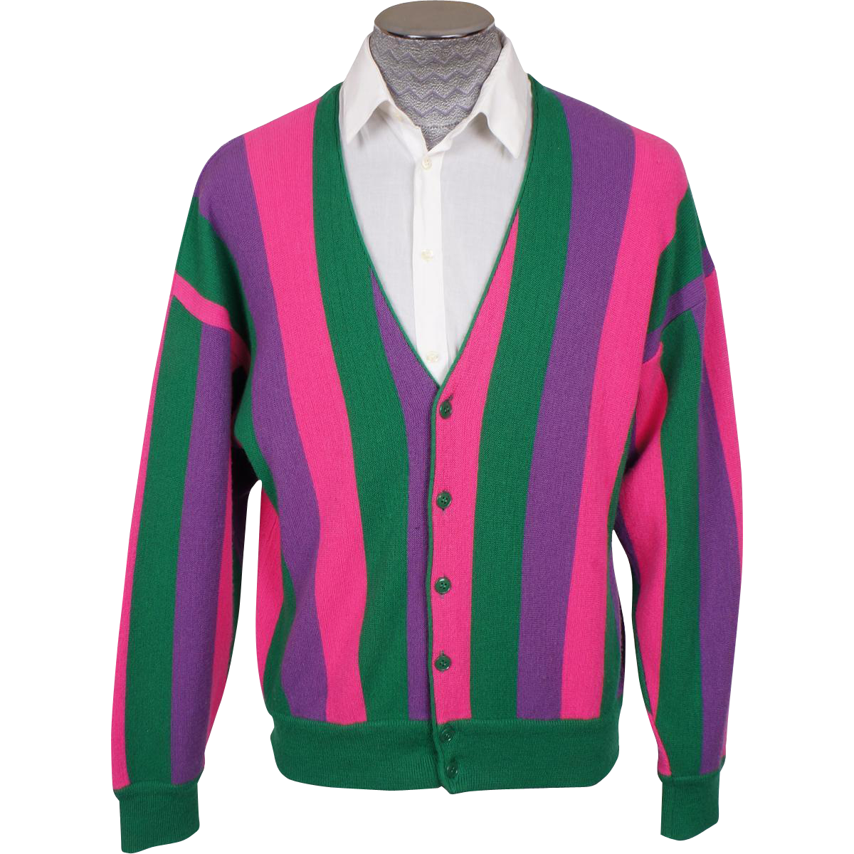 Vintage Mens Cardigan Sweater Made in Italy 1960s Bright Stripes ...