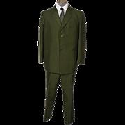 RESERVED - Vintage Mens Mod Pinstripe Green Suit 60s British Invasion Mad Men Era Size L