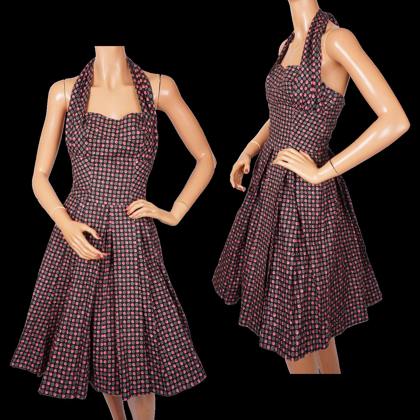 Vintage 1950s Halter Sun Dress - Peck &amp- Peck by Carolyn Schnurer ...