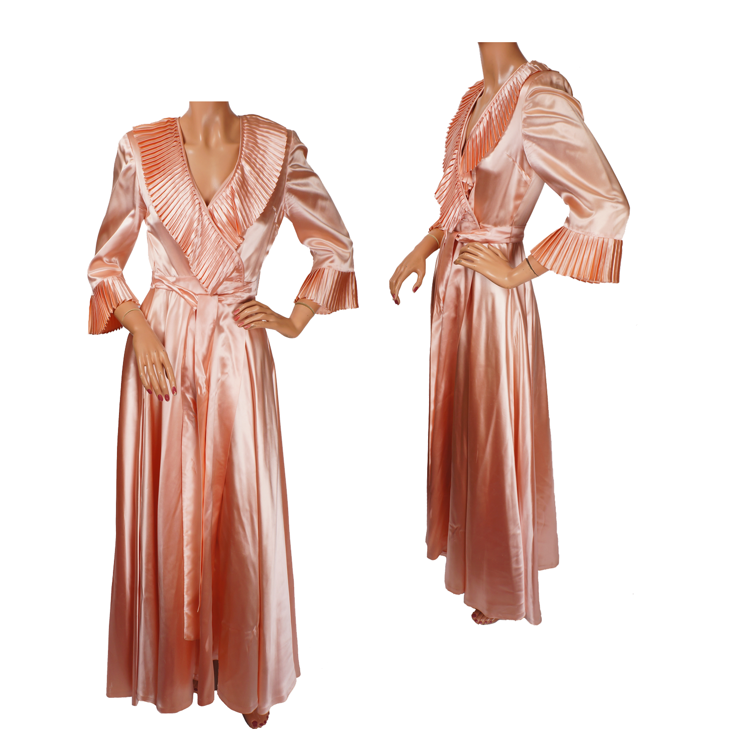 1940s Dressing Gown: Vintage Peignoir 1940s Pink Satin Dressing Gown