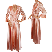 Vintage Peignoir 1940s Pink Satin Dressing Gown -  S