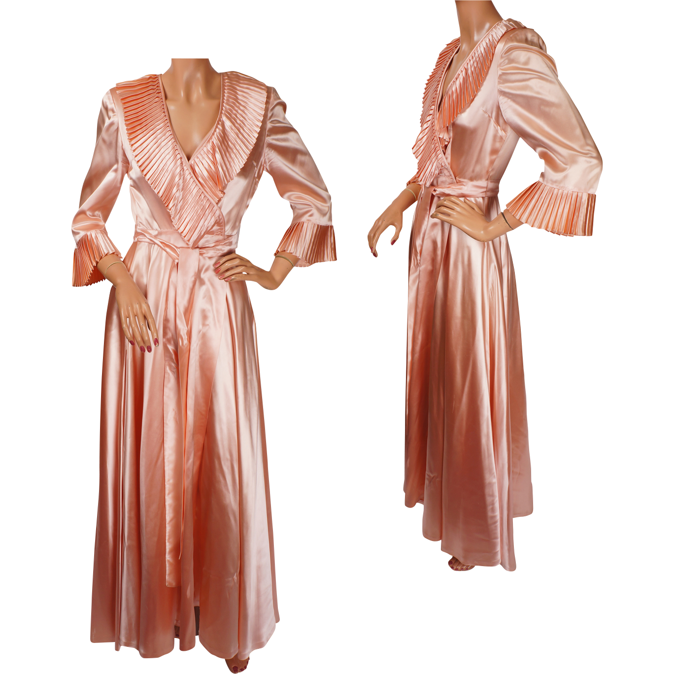 Antique Dressing Gown: Vintage Peignoir 1940s Pink Satin Dressing Gown
