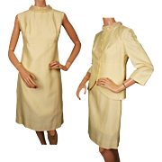 Vintage 60s Yellow Shantung Silk Dress w Jacket By Daymor