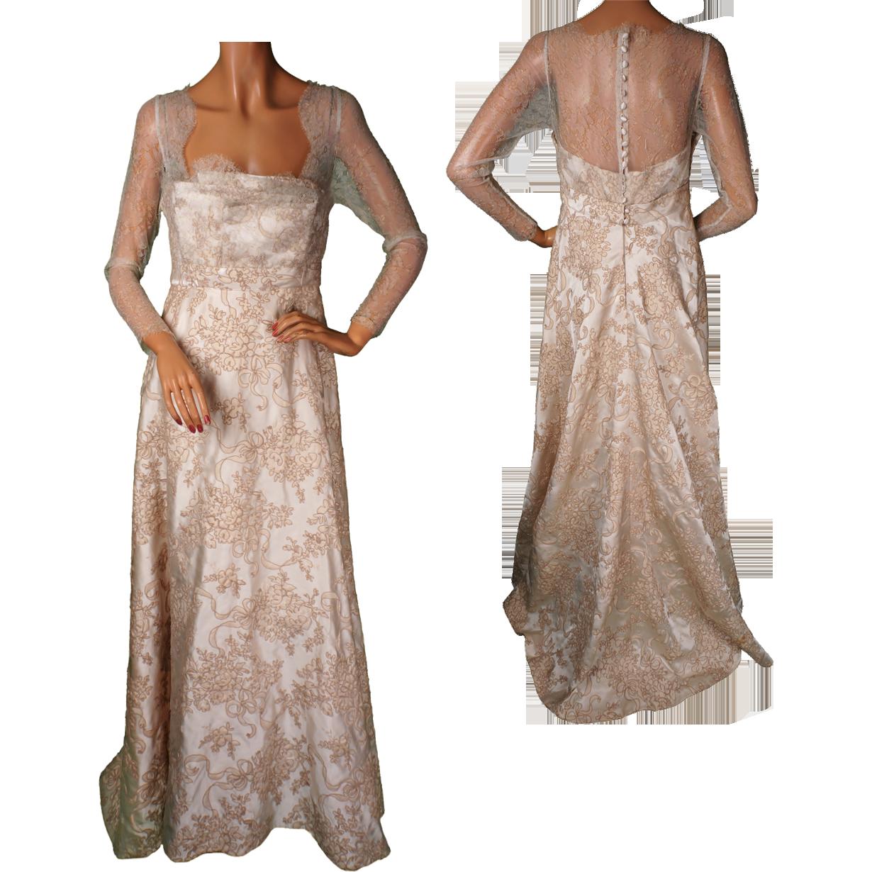 Vintage Wedding Dresses Canada: Vintage 60s Wedding Dress Lace & Silk Brocade Size M From