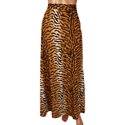 Vintage 70s Tiger Stripe Pattern Skirt Made in Italy Alvino for Alrich Size M